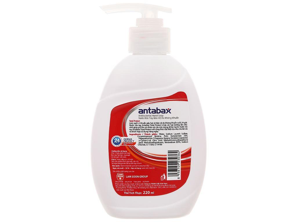 Nước rửa tay kháng khuẩn Antabax bảo vệ da chai 220ml 2