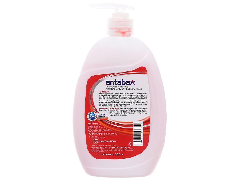 Nước rửa tay kháng khuẩn Antabax bảo vệ da chai 500ml 2