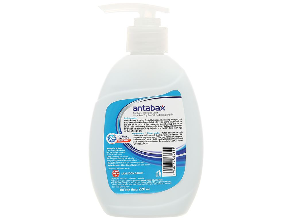 Nước rửa tay kháng khuẩn Antabax sảng khoái chai 220ml 2