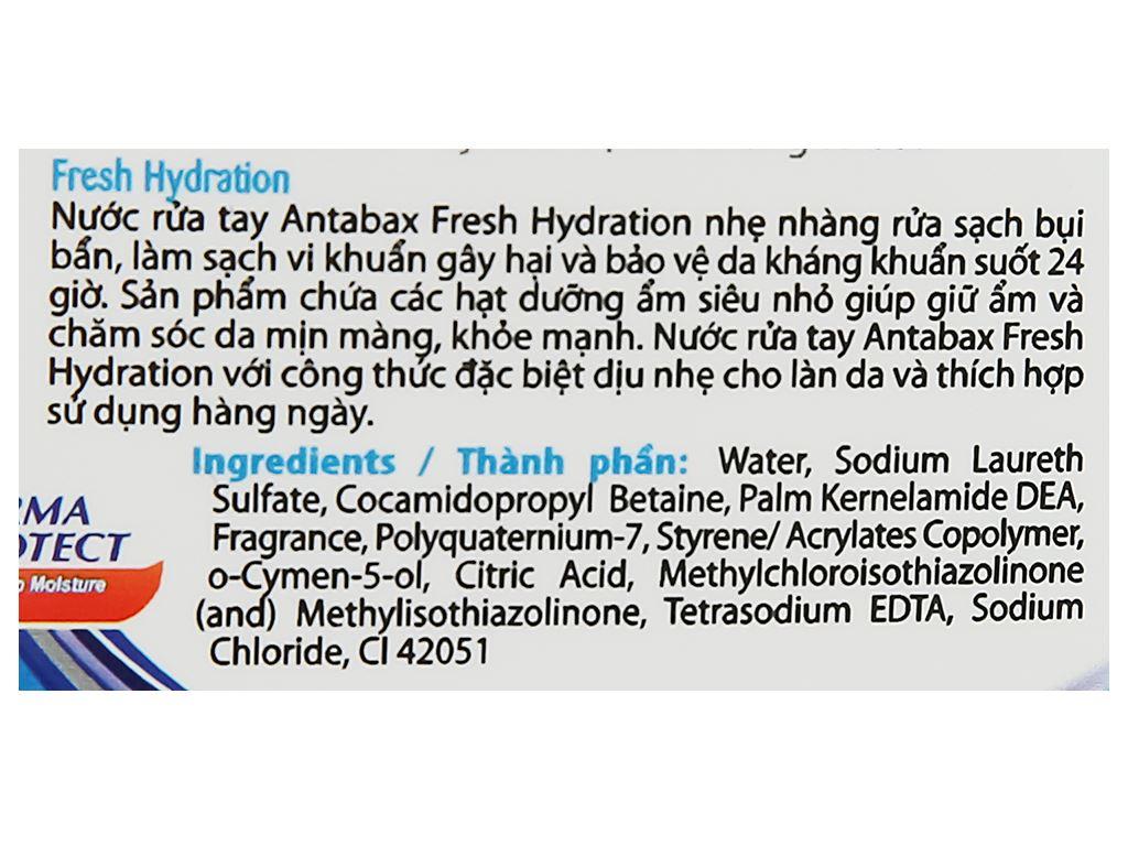Nước rửa tay kháng khuẩn Antabax sảng khoái chai 220ml 3