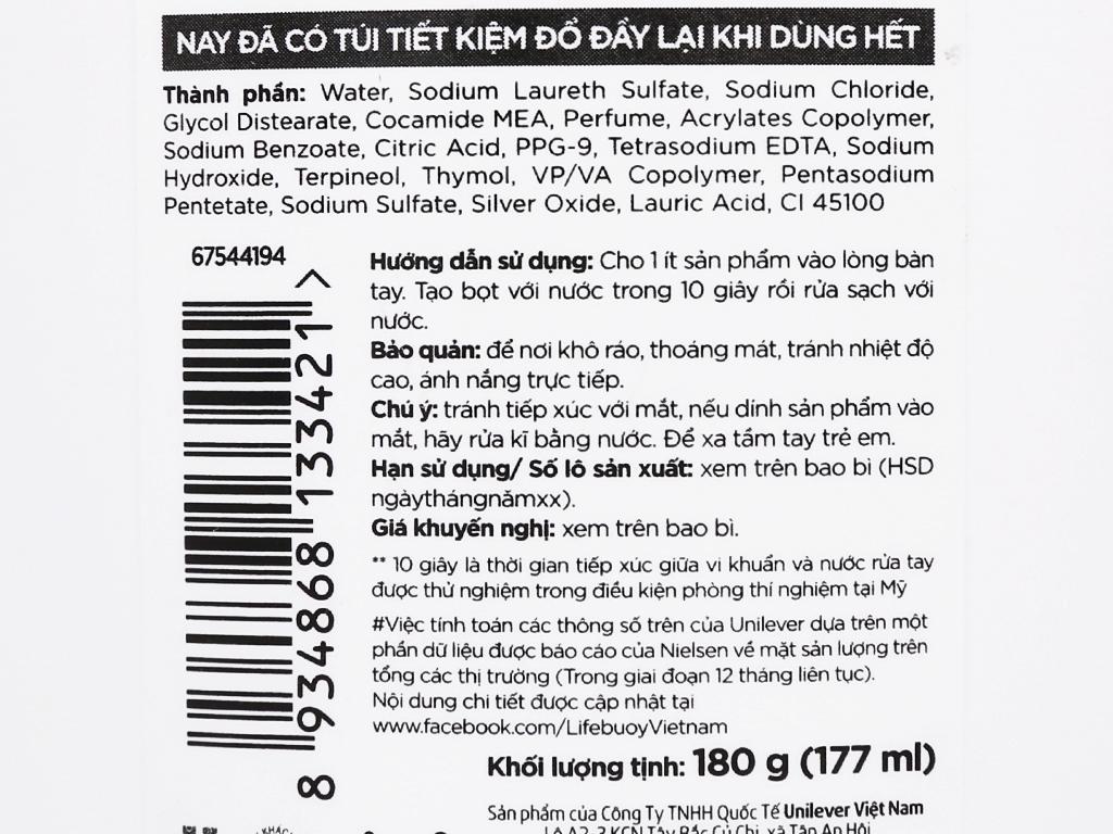Nước rửa tay Lifebuoy bảo vệ vượt trội 10-chai 177ml 3