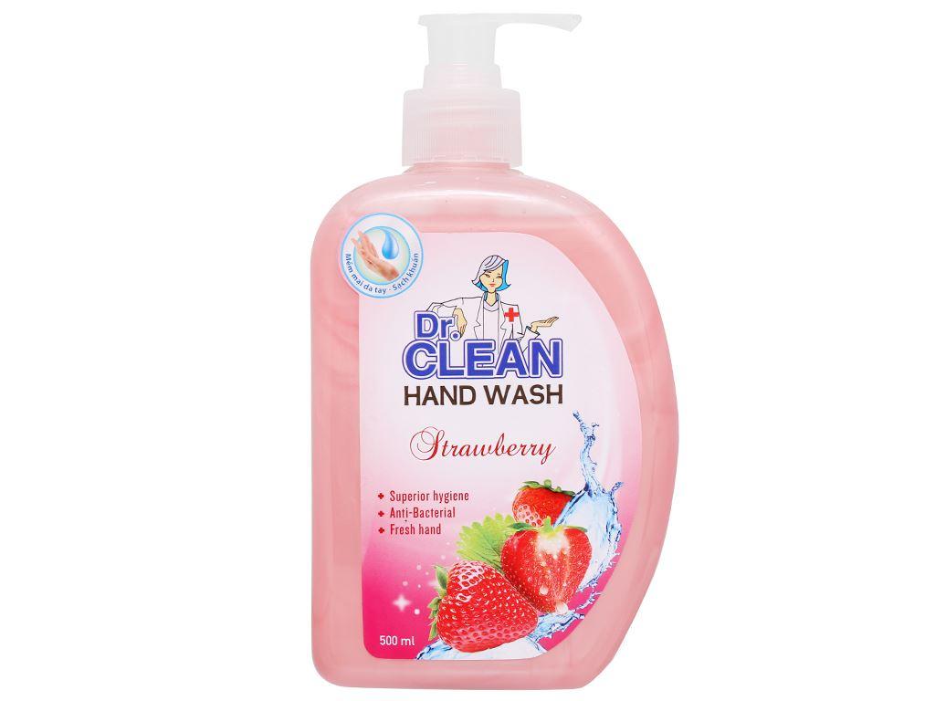 Nước rửa tay sạch khuẩn Dr. Clean hương dâu chai 500ml 6