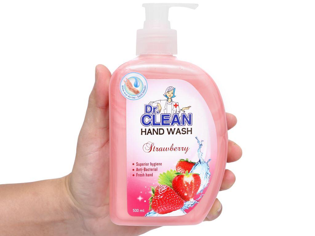 Nước rửa tay sạch khuẩn Dr. Clean hương dâu chai 500ml 9