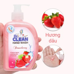 Nước rửa tay sạch khuẩn Dr. Clean hương dâu chai 500ml