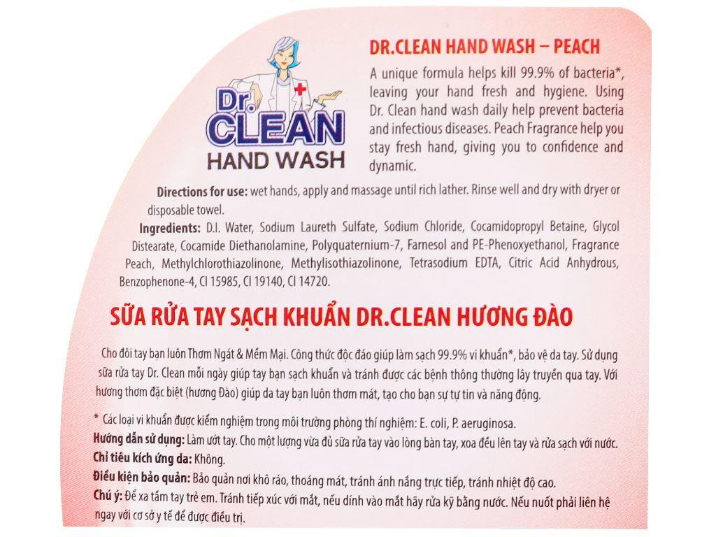 Nước rửa tay sạch khuẩn Dr. Clean hương đào chai 500ml 7