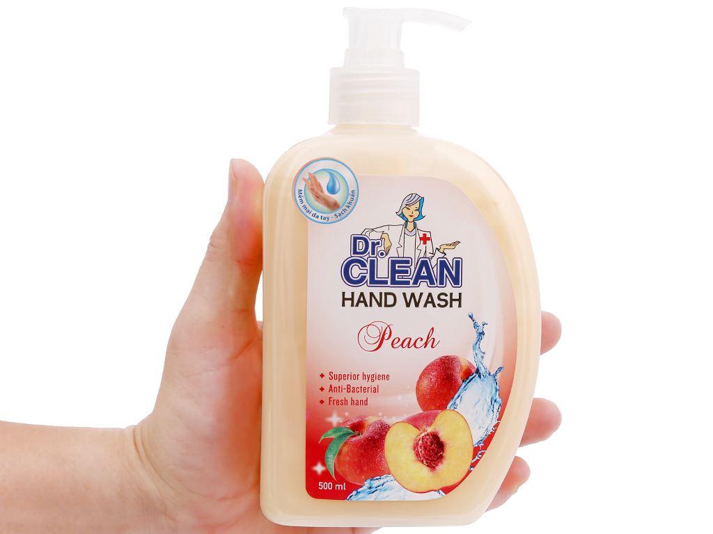 Nước rửa tay sạch khuẩn Dr. Clean hương đào chai 500ml 8