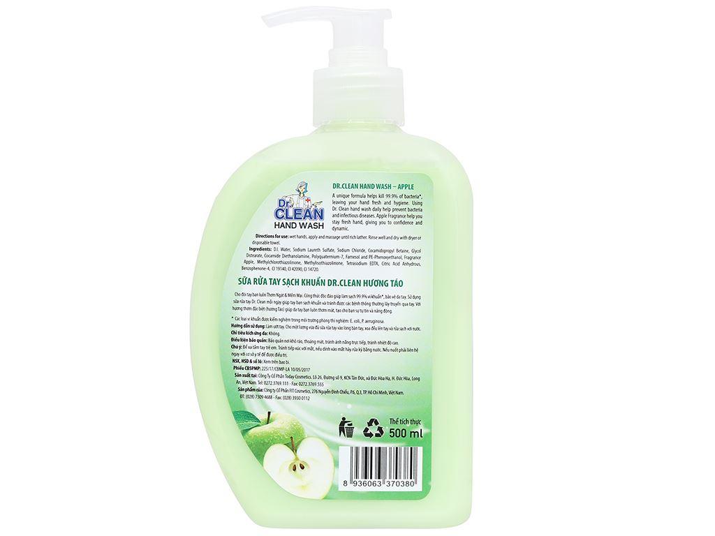 Nước rửa tay sạch khuẩn Dr. Clean hương táo chai 500ml 6