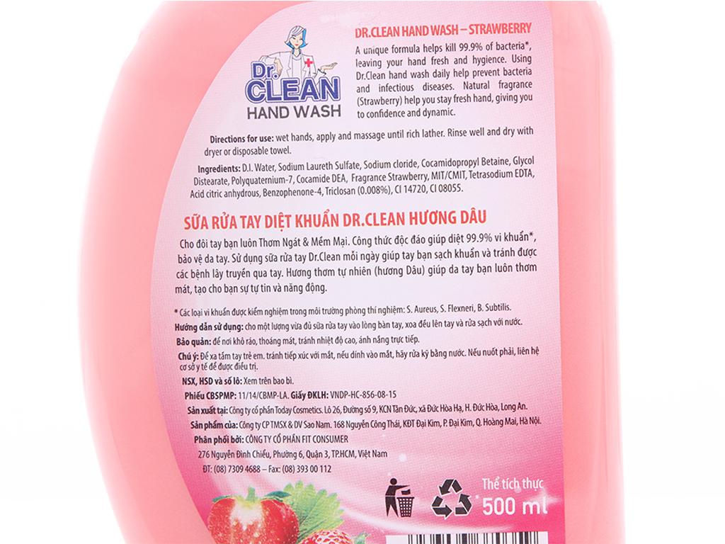 Nước rửa tay Dr. Clean hương Strawberry chai 500ml 3