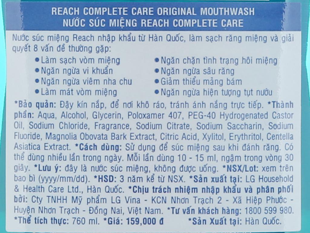 Nước súc miệng REACH Original Complete Care chăm sóc toàn diện 760ml 5