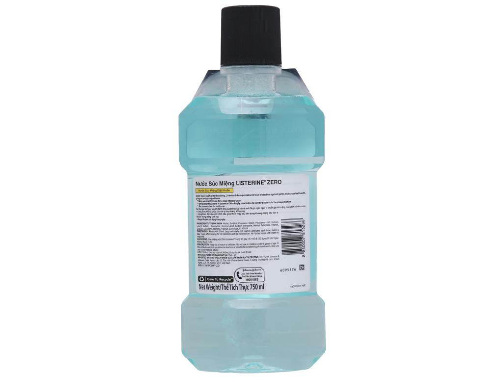 Nước súc miệng diệt khuẩn Listerine Zero 750ml 3