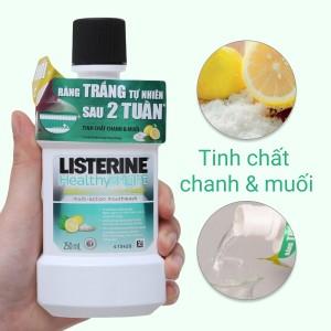 Nước súc miệng răng trắng sáng Listerine tinh chất chanh và muối 250ml