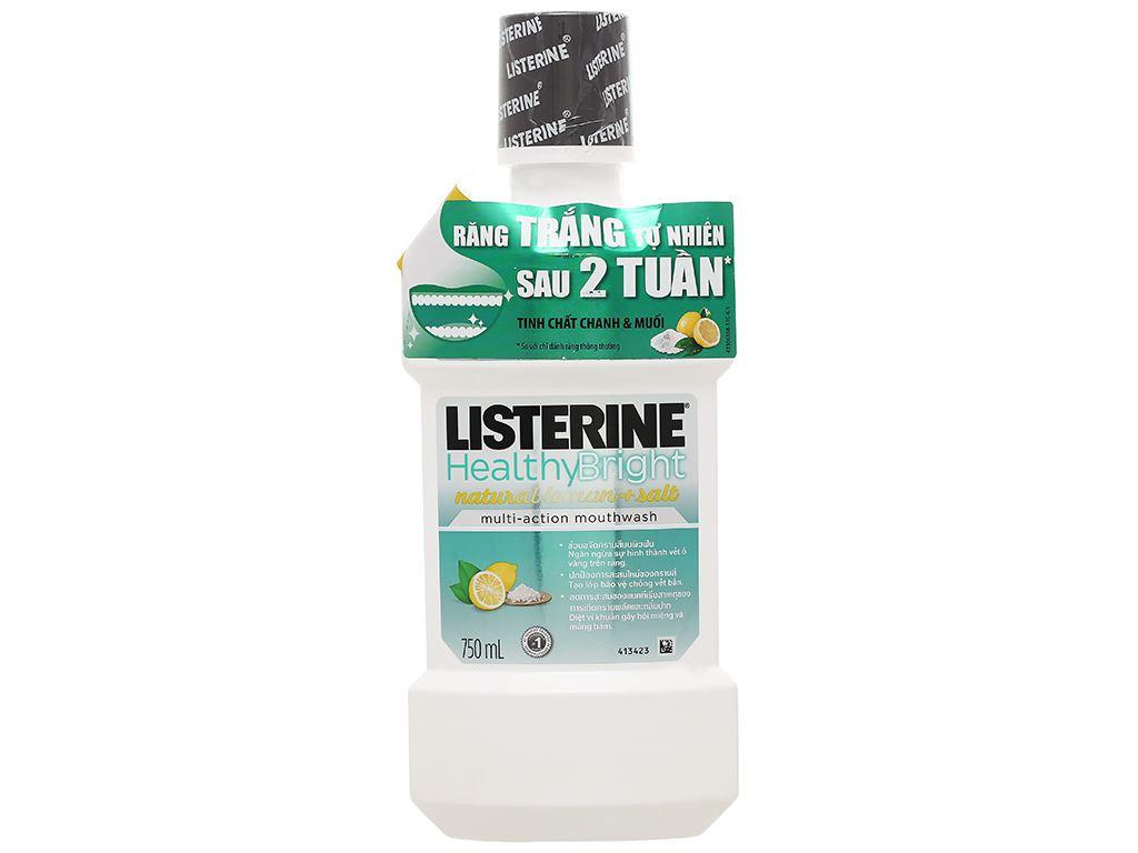 Nước súc miệng răng trắng sáng Listerine tinh chất chanh và muối 750ml 1