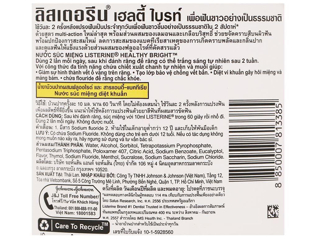 Nước súc miệng răng trắng sáng Listerine tinh chất chanh và muối 750ml 3