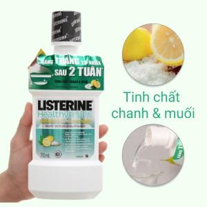 Nước súc miệng răng trắng sáng Listerine tinh chất chanh và muối 750ml