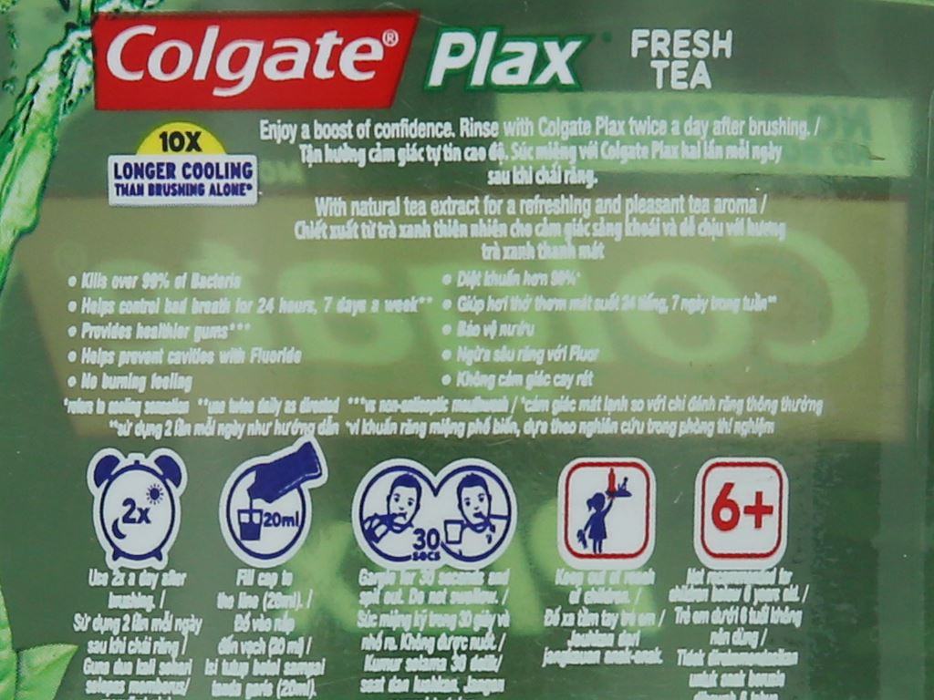 Nước súc miệng Colgate Plax Fresh Tea 500ml 5
