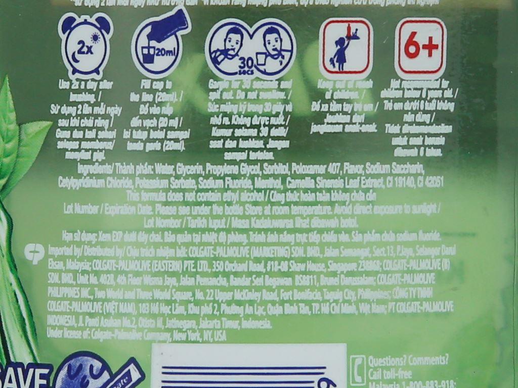 Nước súc miệng Colgate Plax Fresh Tea 500ml 6