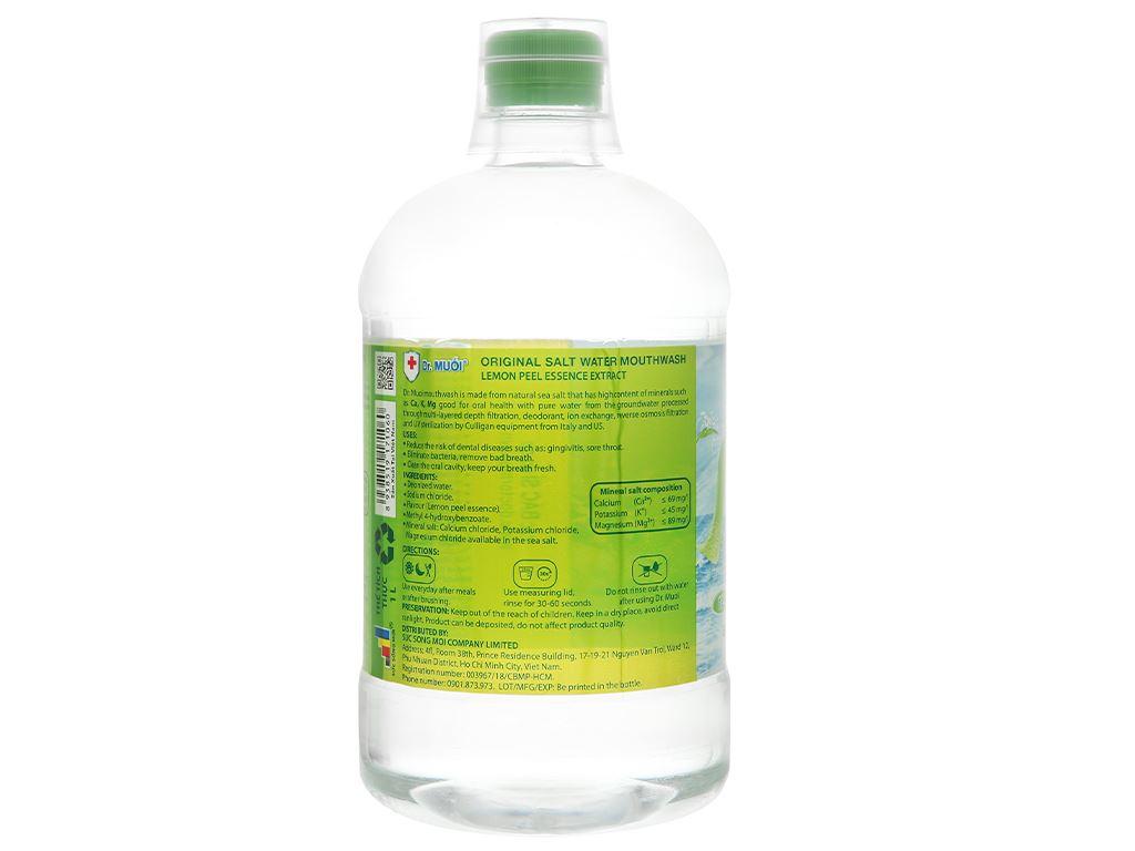 Nước súc miệng Dr.Muối hương vỏ chanh 1000ml 2