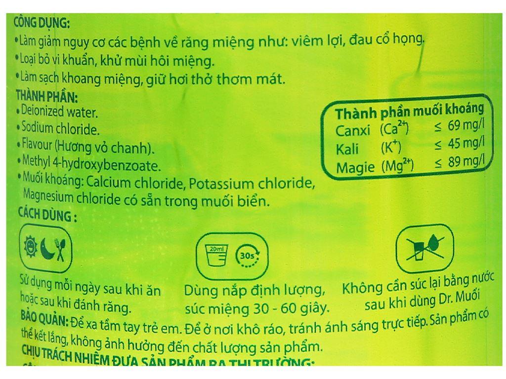 Nước súc miệng Dr.Muối hương vỏ chanh 1000ml 3