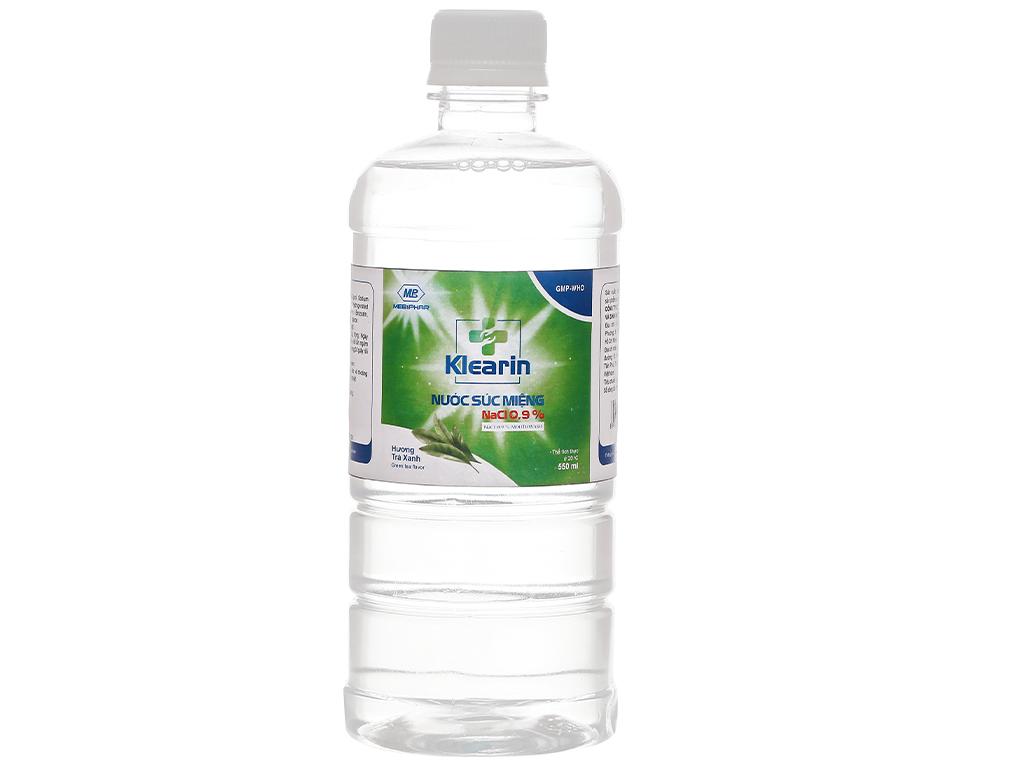 Nước muối súc miệng Klearin Nacl 0.9% trà xanh 550ml 1