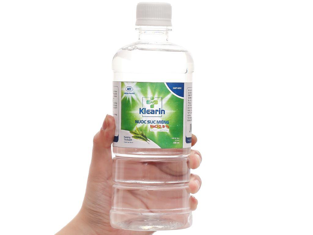 Nước muối súc miệng Klearin Nacl 0.9% trà xanh 550ml 4