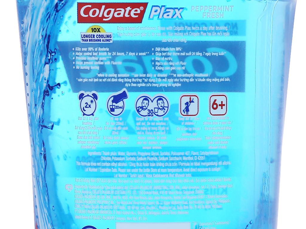 Nước súc miệng Colgate Plax Peppermint Fresh 250ml 4