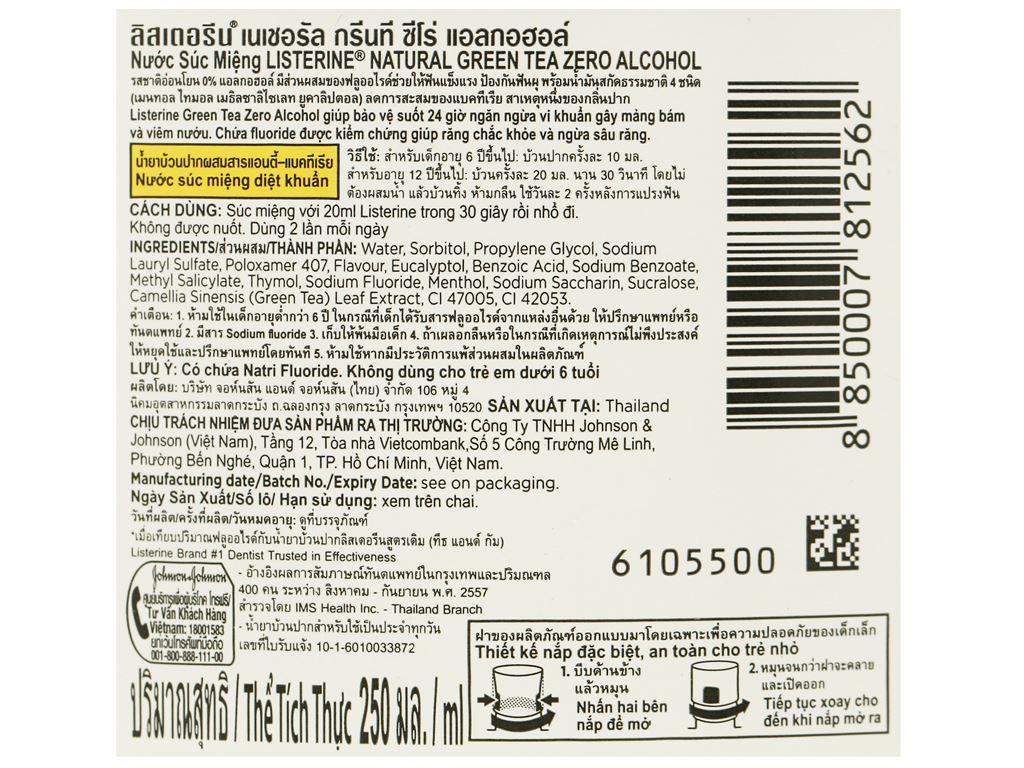 Nước súc miệng ngừa sâu răng Listerine trà xanh 250ml 3
