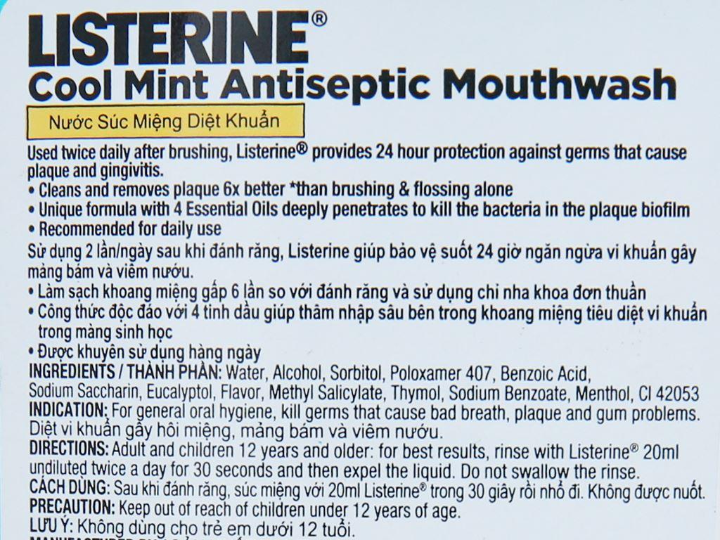 Nước súc miệng Listerine Cool Mint 250ml 6