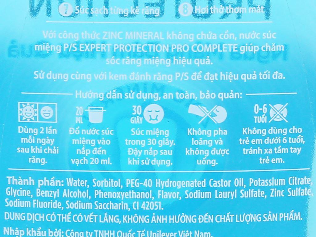 Nước súc miệng P/S Pro Complete 500ml 8