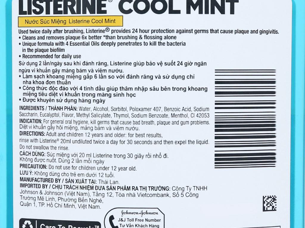 Combo 2 chai nước súc miệng Listerine CoolMint 750ml 6