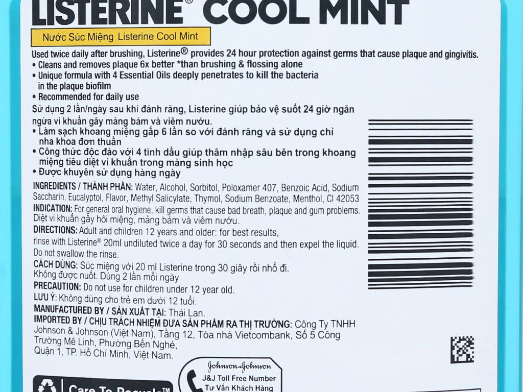 Nước súc miệng Listerine Cool Mint 750ml 5