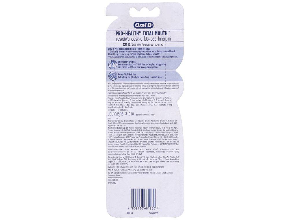 Bộ 3 bàn chải Oral-B Pro Health Total Mouth lông mềm 3