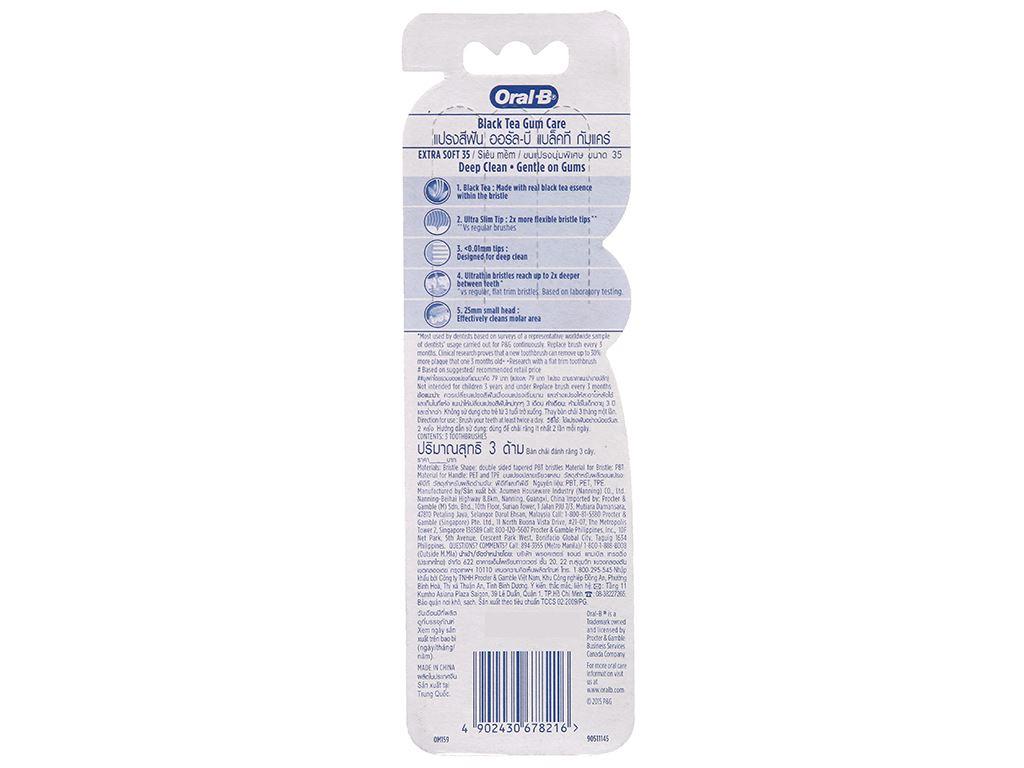 Bộ 3 bàn chải Oral-B Black Tea Gum Care trà đen lông siêu mềm 3