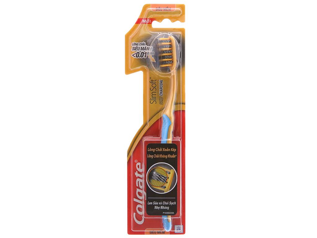 Bàn chải Colgate SlimSoft Gold Charcoal lông xoắn kép siêu mảnh 2