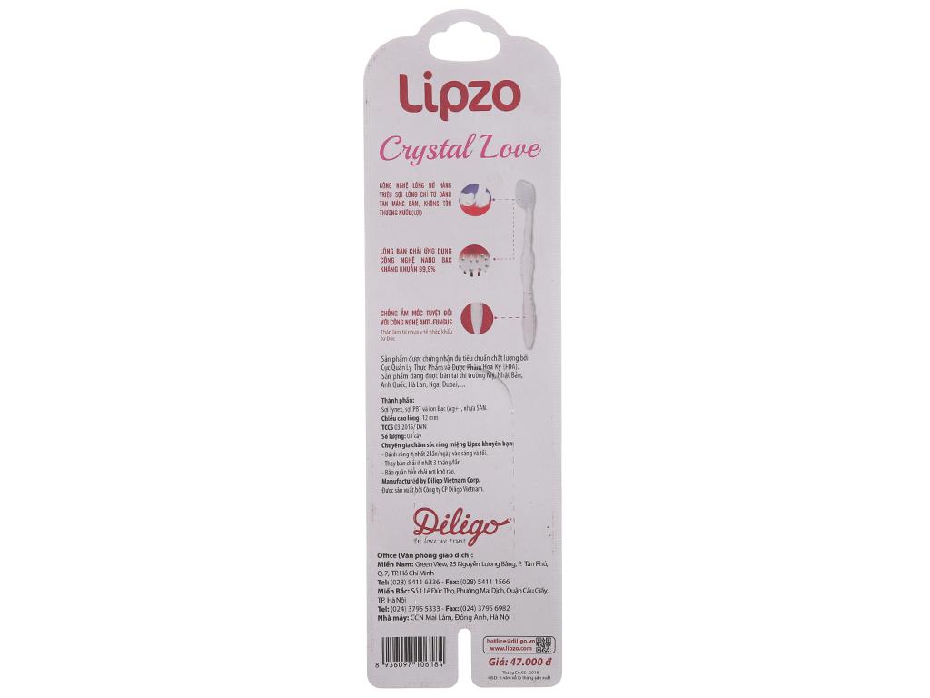 Bộ 3 bàn chải Lipzo Crystal Love lông chỉ tơ 3