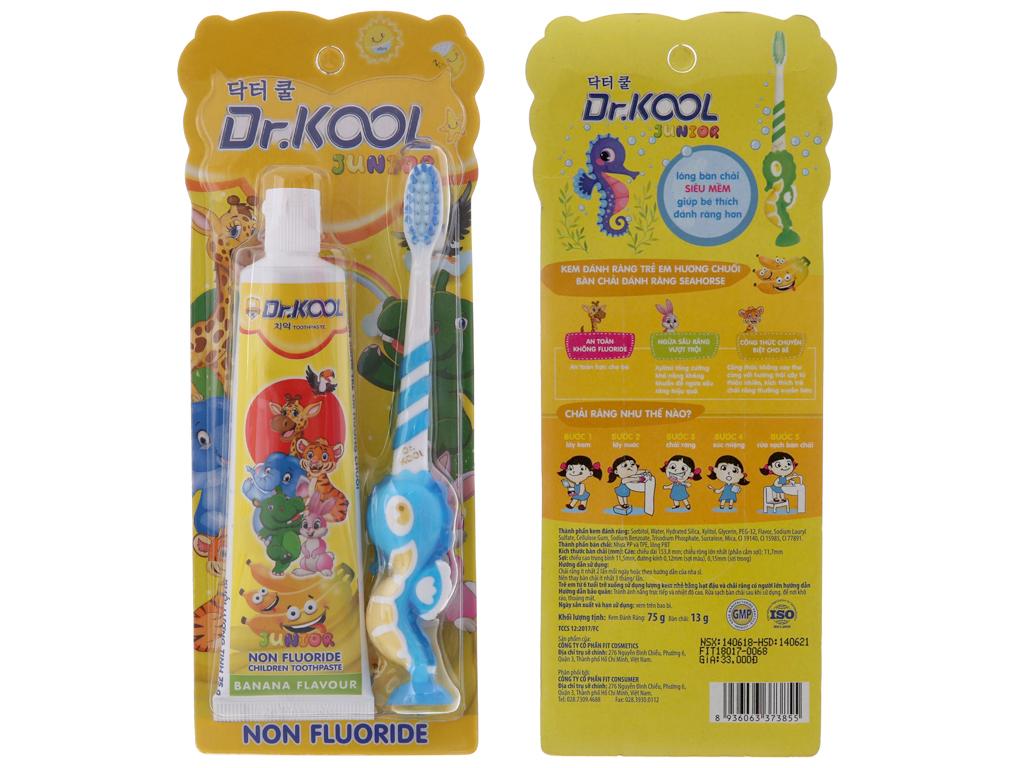 Combo bàn chải & kem đánh răng cho bé Dr. Kool hương chuối 2