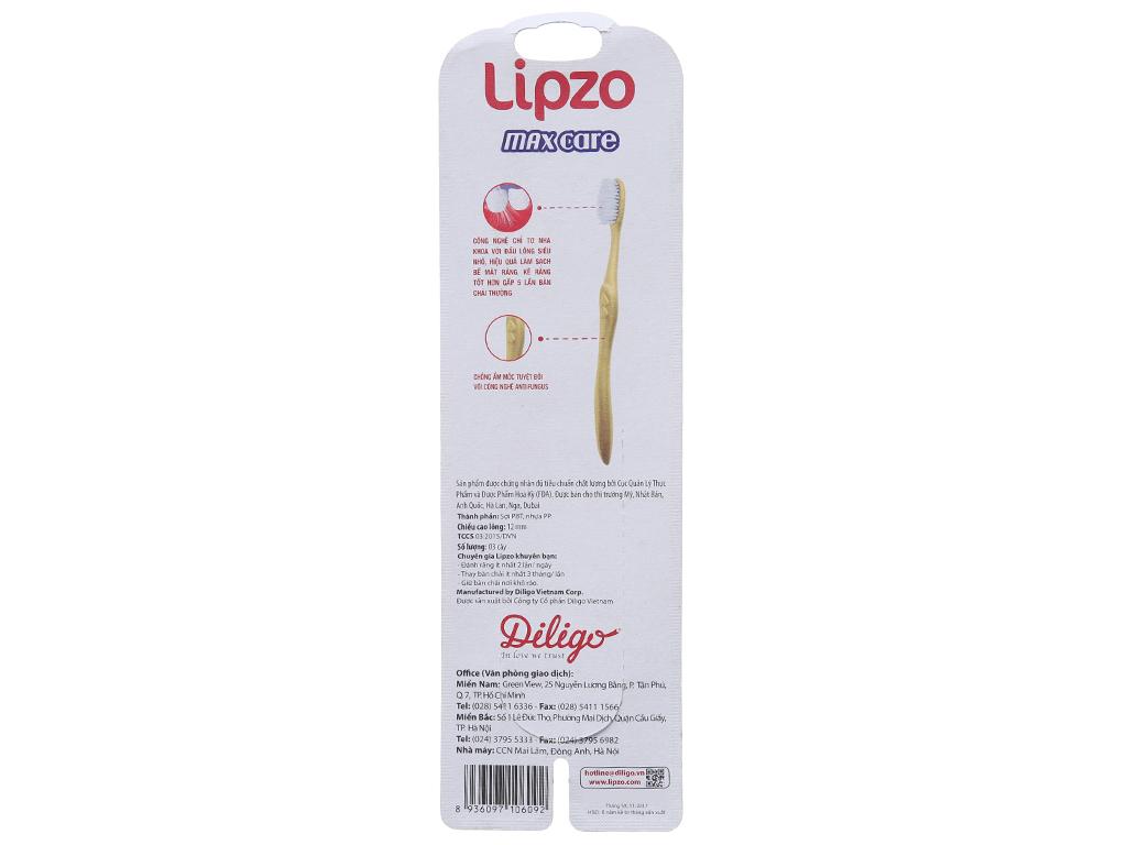 Bộ 3 bàn chải Lipzo Max Care lông chỉ tơ 3