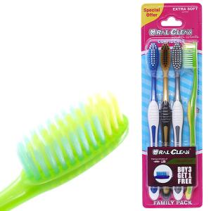 Bộ 3 bàn chải lông mềm Oral-Clean Confidence Extra Soft (mua 3 tặng 1)
