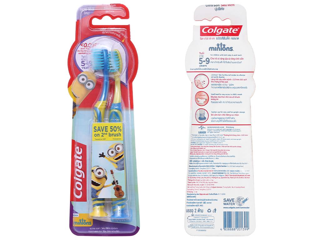 Bộ 2 bàn chải đánh răng cho bé 5-9 tuổi Colgate Minion lông siêu mảnh 1