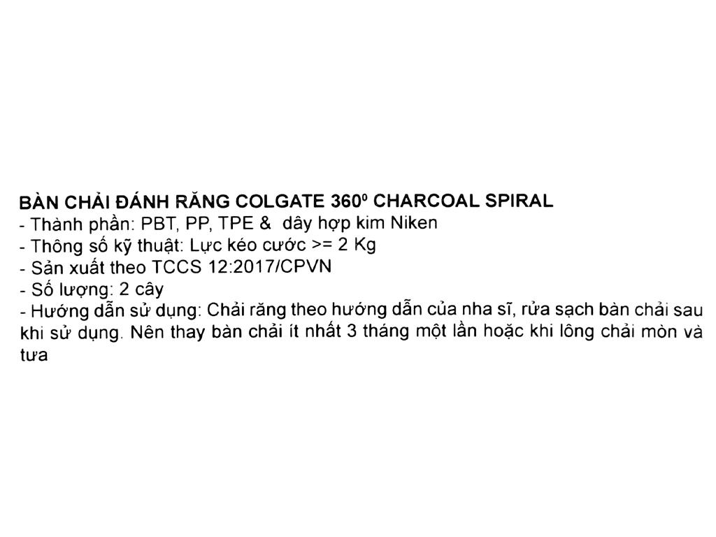 Bộ 2 bàn chải đánh răng Colgate 360 Charcoal Spiral 4