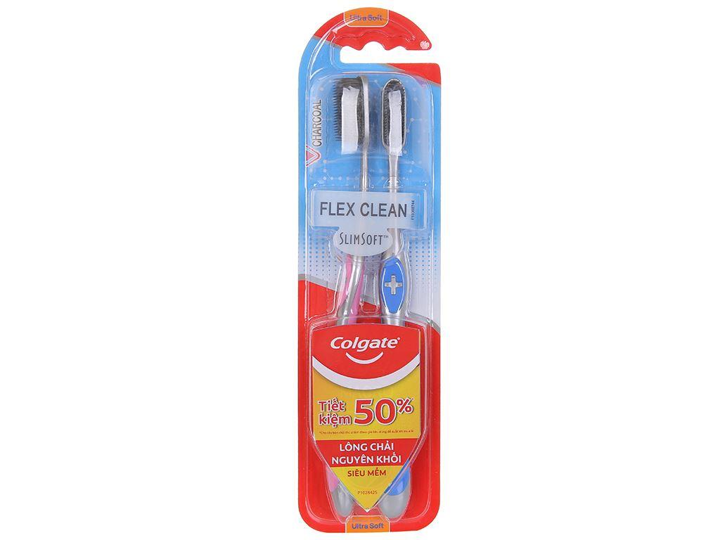 Bộ 2 bàn chải đánh răng Colgate SlimSoft Flex Clean Charcoal (giao màu ngẫu nhiên) 1