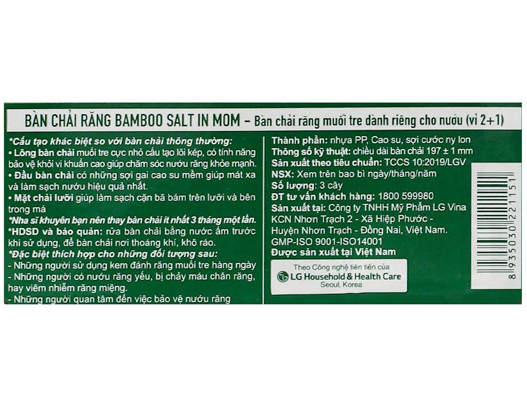 Bộ 3 bàn chải đánh răng Bamboo Salt In Mom 3