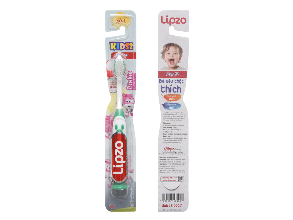 Bàn chải cho bé trên 5 tuổi Lipzo Kids lông mềm êm 2
