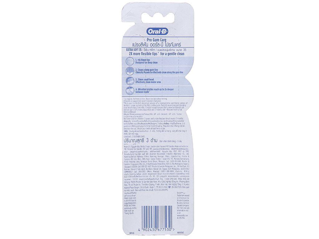 Bộ 3 bàn chải Oral-B Pro Gum Care siêu mềm 3