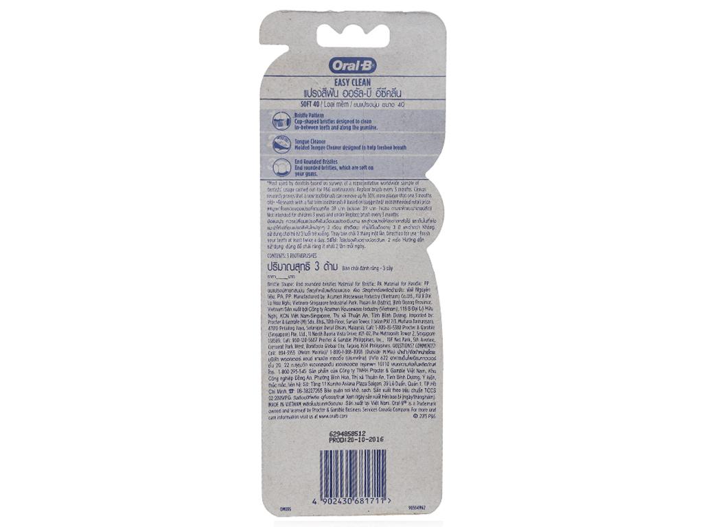 Bộ 3 bàn chải Oral-B Easy Clean lông mềm 3