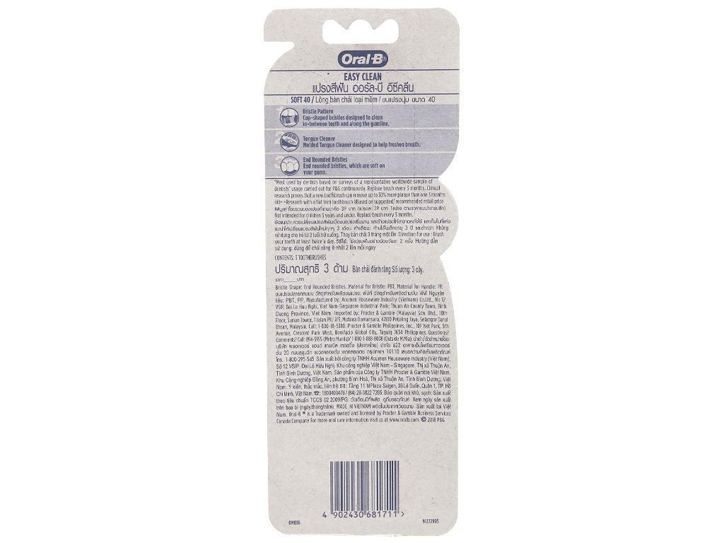 Bộ 3 bàn chải Oral-B Easy Clean lông mềm 6