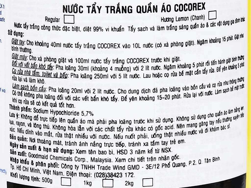Nước tẩy quần áo trắng Cocorex Lemon Fresh 500g 3