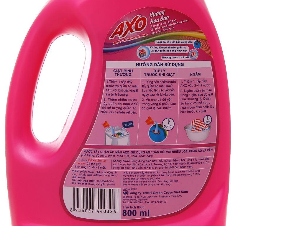 Nước tẩy quần áo màu AXO hương hoa đào 800ml 4