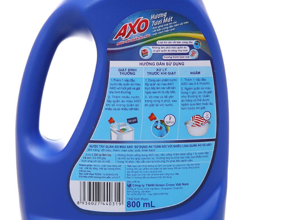 Nước tẩy quần áo màu AXO hương tươi mát 800ml 4