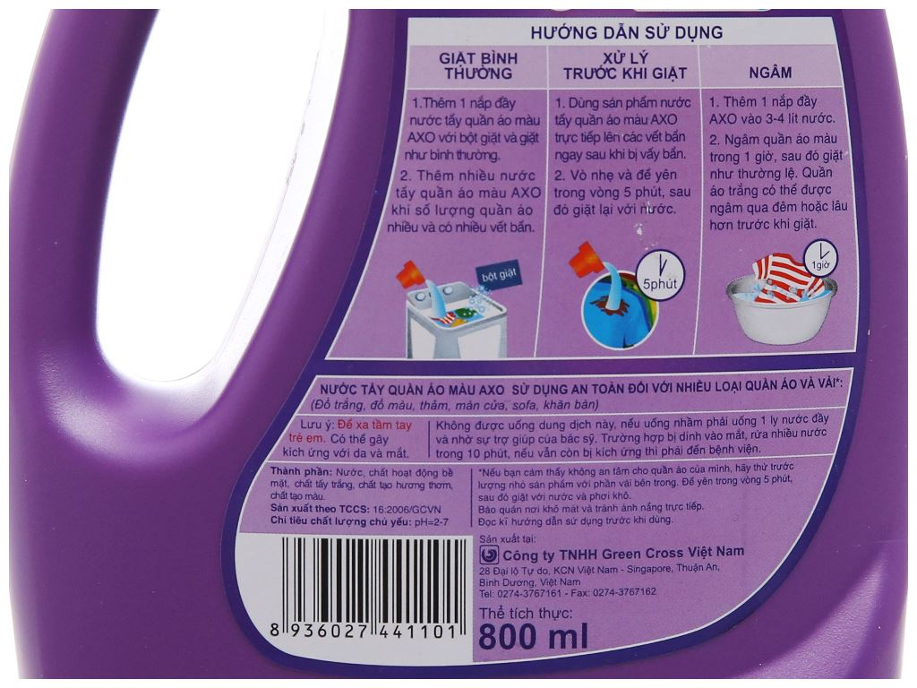 Nước tẩy quần áo màu AXO hương Lavender 800ml 5