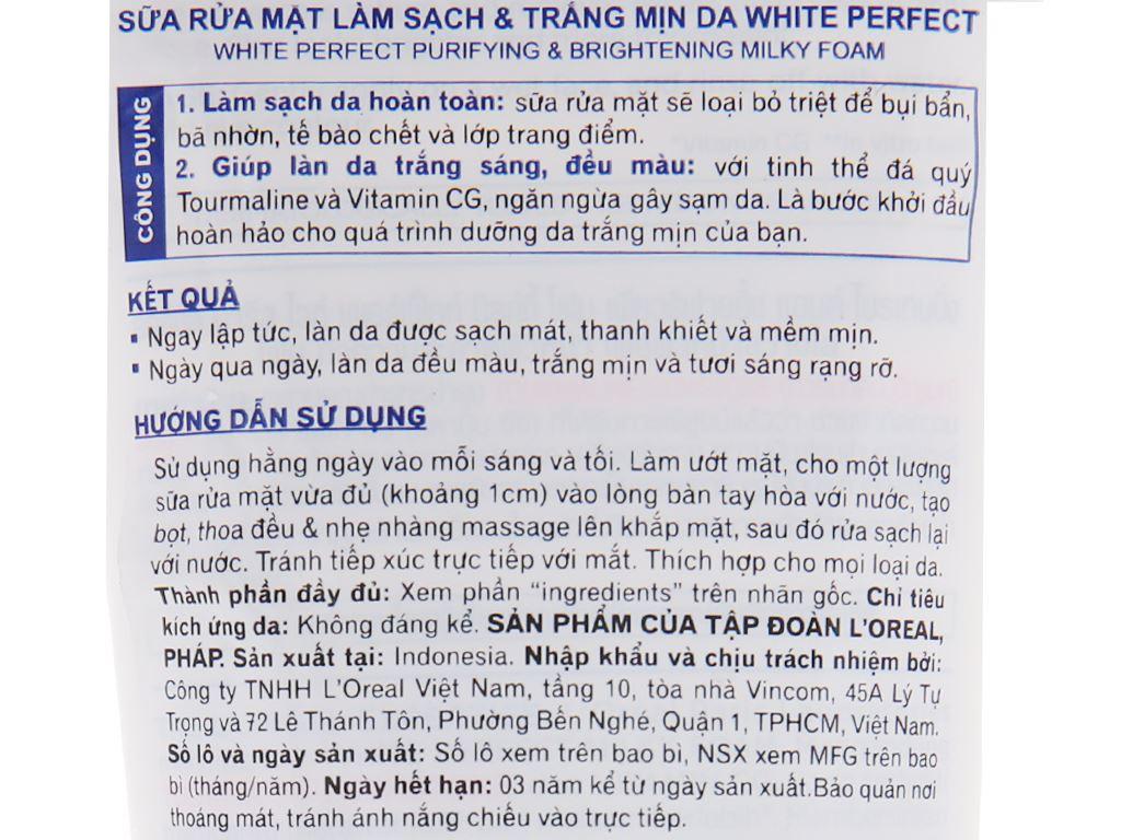 Sữa rửa mặt làm sạch và trắng mịn da L'Oréal White Perfect 50ml 4